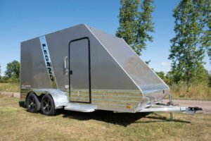 Curbside RV Style Door on Aluminum All Sport Deluxe Trailer