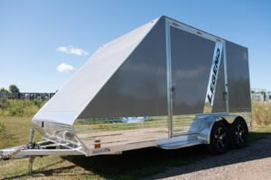 Front view of All Sport Deluxe Alumium Trailer with Gull Wing Door