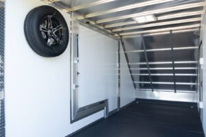 Interior view of Gull Wing Door on All Sport Deluxe Aluminum Trailer