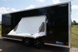 Interior of Thunder V Nose 8.5' Wide Tandem Axle Aluminum Cargo Trailer with Mattress