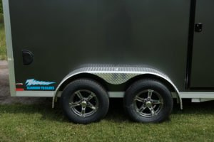 Tires and Wheels on Thunder Model Aluminum V-Nose Cargo Trailer