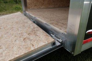 Rear Ramp Door Detail on Thunder Model Aluminum V-Nose Cargo Trailer