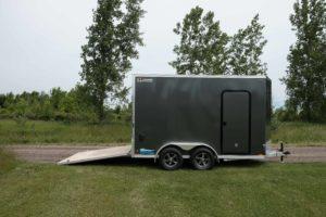 Rear Ramp Open on Thunder Model Aluminum V-Nose Cargo Trailer