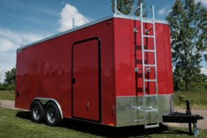 Ladder Detail on Contractor Package add-on to Legend Steel Cyclone V-Nose Enclosed Cargo Trailers