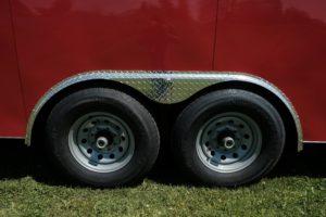 Steel Wheels standard on Steel V-Nose Cargo Trailer Legend Cyclone