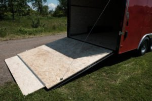 Ramp Door and Ramp Flap View on Steel 8.5' Wide Enclosed Cargo Trailer Cyclone Model