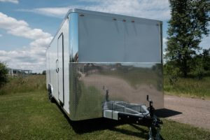 Front Stone Guard View of Aluminum Enclosed Cargo Trailer Trailmaster Flat Front 8.5' Wide Model