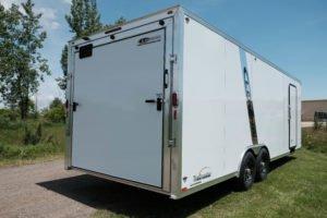 Rear Ramp Door on Aluminum Enclosed Cargo Trailer Trailmaster Flat Front 8.5' Wide Model