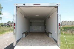 Interior View of Aluminum Enclosed Cargo Trailer Trailmaster Flat Front 8.5' Wide Model