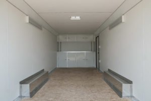 Detail View of Optional Storage inside Aluminum Enclosed Cargo Trailer Trailmaster Flat Front 8.5' Wide Model