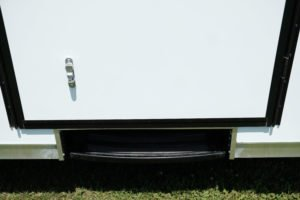 Slide Out Step Not in Use on Aluminum Enclosed Cargo Trailer Trailmaster Flat Front 8.5' Wide Model