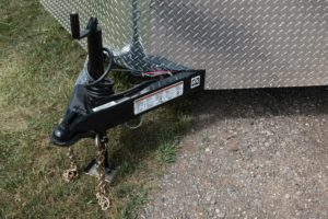 Front Tongue Jack and Coupler on Legend Cyclone V-Nose Cargo Trailer