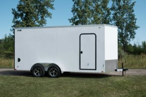 Side View of Legend Cyclone Legend Cyclone Steel V-Nose Enclosed Cargo Trailer