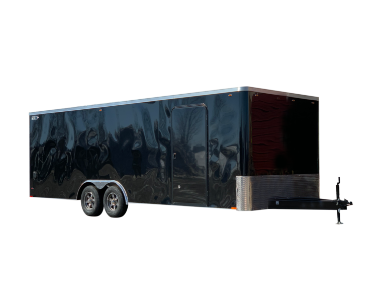 Steel Flat Front 8.5' Wide Tandem Axle Cyclone Enclosed Trailer