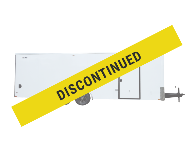 Legend has discontinued the Steel Flat Front 8.5' wide steel enclosed trailer