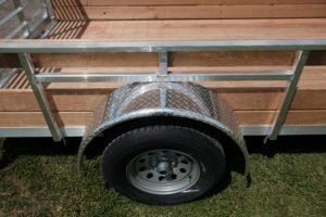 Wheel and Fender Detail on Aluminum High Side Legend Open Trailer