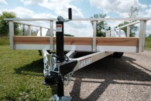 Coupler and Jack Detail on Aluminum Low Side Utility Trailer