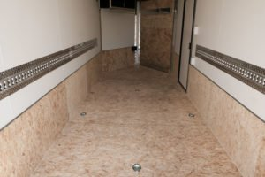 Interior View and D-Rings of Explorer Snow and Sport Enclosed Aluminum Trailer