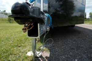 Coupler and Extruded Aluminum Tongue Detail with Extreme Cold Weather Cord on Explorer Snow ATV Trailer