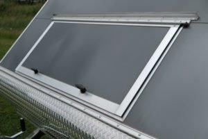 Front Hatch Door on Aluminum Enclosed Snow Sport Trailer