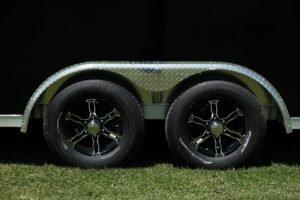 Wheel detail on 8.5' Wide Aluminum Enclosed Snow and Sport Trailer Trailmaster V-Nose Model