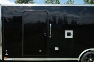 Roadside door view on Legend's Trailmaster V-Nose 8.5' Wide Model