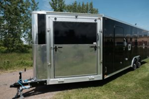 Front Ramp Door and Stone Guard detail on Legend's Trailmaster snow and sport enclosed aluminum trailer