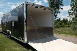 Rear ramp door detail on 8.5' Wide Trailmaster Enclosed Snow and Sport Trailer