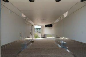 Interior View on Legend' Trailmaster enclosed aluminum trailer