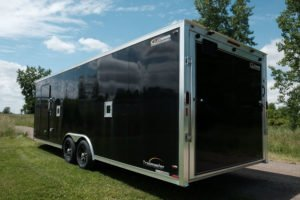 Rear Detail showing Side Access Doors on Legend's 8.5' Wide Enclosed Aluminum V-Nose Snow and Sport Trailer