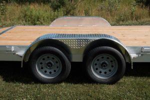 Wheels Tires and Fenders as standard on Legend Open Aluminum Car Hauler Trailer