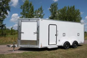 Front Ramp Door Detail on Trackmaster Aluminum Enclosed Snow and Sport Trailer