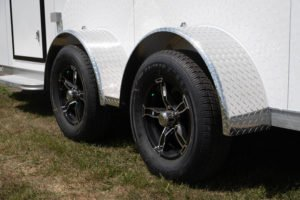 Tire wheel and fender detail on Legend's Trailmaster model