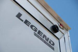 Legend logo on rear ramp door on Trailmaster model