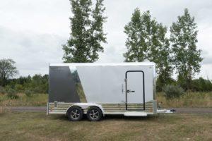 Side view of Legend Deluxe Tandem Axle Aluminum Enclosed Cargo Trailer