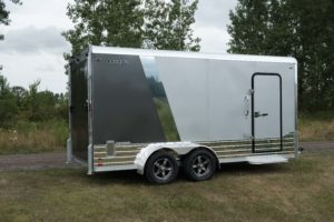 Rear angle view of Legend Deluxe Tandem Axle Aluminum Enclosed Cargo Trailer