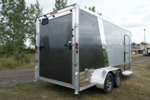 Ramp Door view of Legend Deluxe Tandem Axle Aluminum Enclosed Cargo Trailer