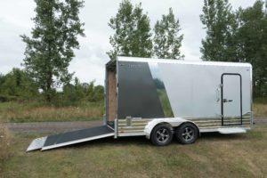 Ramp Door Open on Legend Deluxe Tandem Axle Aluminum Enclosed Cargo Trailer