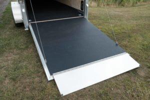 Ramp Door with Ramp Flap on Legend Deluxe Tandem Axle Aluminum Enclosed Cargo Trailer