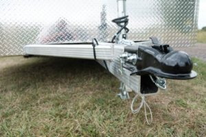 Front Coupler and Tongue Detail on Legend Deluxe Tandem Axle Aluminum Enclosed Cargo Trailer