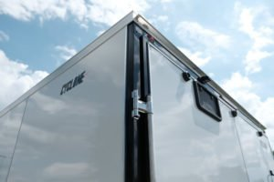 Cyclone Sticker and Rear Door Detail on Steel Cyclone Enclosed Legend Cargo Trailer