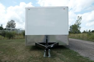 Front Detail on Cyclone Model Steel Enclosed Flat Front 8.5' Wide Trailer