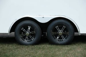Tire and Wheel and Fender Detail on 8.5' Wide Steel Cyclone Cargo Trailer