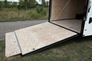 Rear Ramp Door and Ramp Flap on Steel Enclosed Flat Front 8.5' Wide Cargo Trailer Legend Cyclone