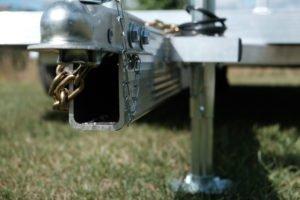 Coupler and Tongue detail on Legend aluminum open tilt utility trailer