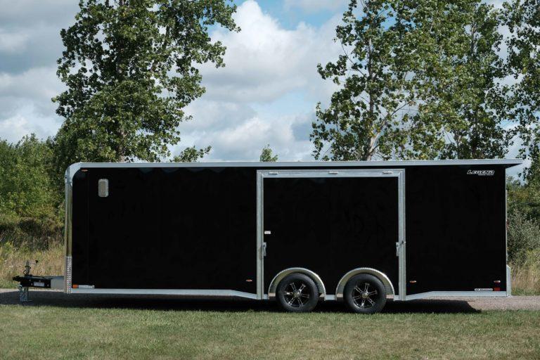 Side View of Aluminum Enclosed Race Trailer Trailmaster 8.5' Wide Car Hauler Model