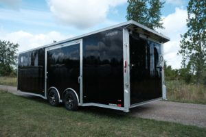 Rear Spoiler and Rear Detail of Aluminum Enclosed Race Trailer Trailmaster 8.5' Wide Car Hauler Model custom frame options for Legend trailers