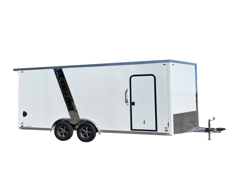 Flat Top V Nose Tandem Axle Aluminum Cargo Trailer 8 Foot Wide with Spoiler