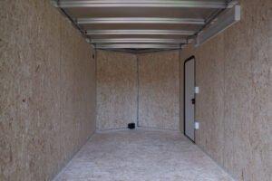 Interior of Thunder V Nose 7.5' Wide Tandem Axle Aluminum Cargo Trailer