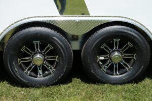 Photo of black aluminum 8 hole wheels a popular option on Legend premium trailers